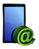 Tablet mail. Illustration design over white background Stock Photos