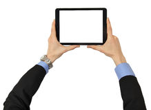 The tablet in male hands with clipping path for the screen Stock Images