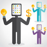 Tablet Man. Tablet head man got idea to make money Royalty Free Stock Images