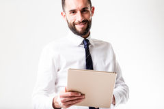 Tablet man with his business Royalty Free Stock Photography