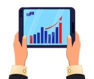 Tablet in Mann ` s Händen Wachsendes Diagramm Moderne Technologien der Ikone lizenzfreie abbildung
