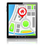 Tablet with Map Royalty Free Stock Photo