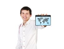 Tablet with map Stock Photo