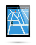 Tablet map location Stock Photos