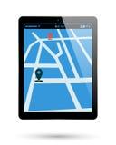 Tablet map location. PC Tablet location mark map. Computer pad location point. Vector illustration royalty free illustration