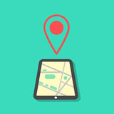 Tablet with map and pointer. Concept of mobile gps navigation on a screen. isolated on green background. flat style modern vector illustration Stock Image