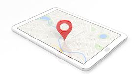Tablet with map and red pinpoint on screen Stock Photography