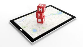 Tablet with map on screen Royalty Free Stock Image