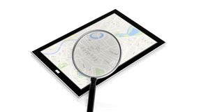 Tablet with map on screen Royalty Free Stock Photos