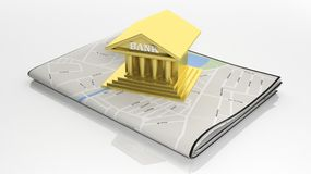 Tablet with map on screen. Paper map with 3D gold bank symbol  on white Royalty Free Stock Photography
