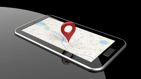 Tablet with map on screen Royalty Free Stock Images