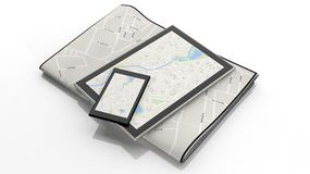 Tablet with map on screen Royalty Free Stock Photography