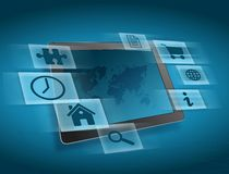 Tablet with a map and variety of icons around it Royalty Free Stock Photos
