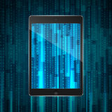 Tablet with matrix background Stock Photos