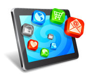 Tablet and media icons. Stock Photo