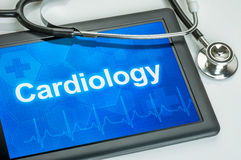 Tablet with the medical specialty Cardiology. On the display Royalty Free Stock Photo
