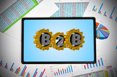 Tablet met b2b concept Stock Fotografie
