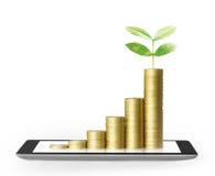 Tablet met bedrijfsgrafiek en gouden muntstuk Stock Foto's