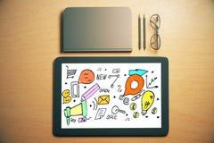 Tablet met bedrijfskrabbel Stock Afbeeldingen