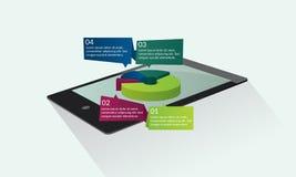 Tablet met cirkeldiagram Stock Afbeelding