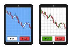 Tablet met forex grafiek Stock Afbeeldingen