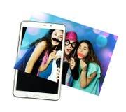 Tablet met foto Stock Afbeelding
