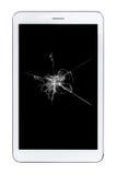 Tablet met gebroken glas Stock Fotografie