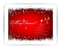 Tablet met Kerstmisachtergrond Royalty-vrije Stock Foto's