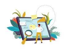 Tablet met memoranda, persoon en vergrootglasvector stock illustratie