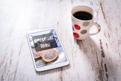 Tablet met persoonlijke leningspagina Royalty-vrije Stock Foto