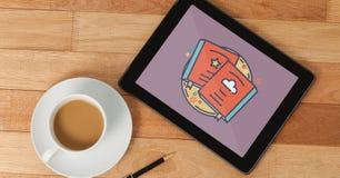 Tablet met reispictogram op het scherm Stock Foto's
