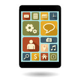 Tablet met uitstekend pictogram Stock Illustratie
