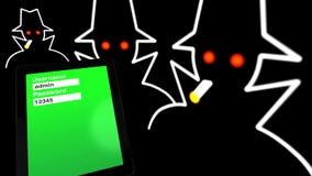 Tablet met wachtwoordingang die binnendrongen in een beveiligd computersysteem Stock Afbeeldingen