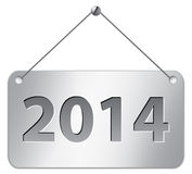 2014 tablet. Metallic gray tablet for 2014 year. Vector illustration Royalty Free Stock Images