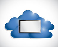 Tablet in the middle of a set of clouds. Stock Photos