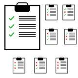 Tablet mit Anmerkungen und grüner und roter Farbe stock abbildung