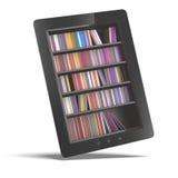 Tablet mit Bücherregal Stockbild
