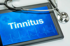 Tablet mit dem Diagnose Tinnitus Lizenzfreies Stockfoto