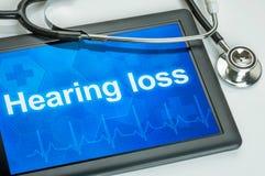 Tablet mit dem Diagnose Verlust der Hörfähigkeit stockfoto