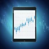 Tablet mit Devisendiagramm auf dem Desktop Lizenzfreie Stockbilder