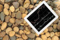 Tablet mit Diagramm auf Steinboden stockbild