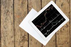 Tablet mit Diagramm und Papier auf hölzerner Tabelle stockfotos