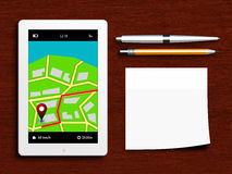 Tablet mit gps-Navigationsanwendung, Stift, Bleistift und klebrigem n Stockbilder