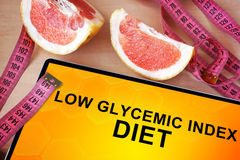 Tablet mit niedriger glycemic Indexdiät Stockfotos