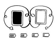 Tablet mit Steckerverbindung Stockbilder