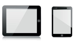 Tablet and mobile. Tablet computer and mobile isolated on white Royalty Free Stock Photos