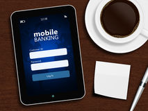 Tablet with mobile banking login page, cup of coffee, pen and wh Stock Images