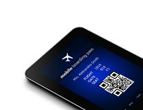 Tablet with mobile boarding pass  over white Stock Photo