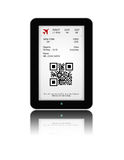 Tablet with mobile boarding pass  over white Royalty Free Stock Photography