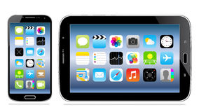 Tablet and mobile phone with icon on screen Stock Images